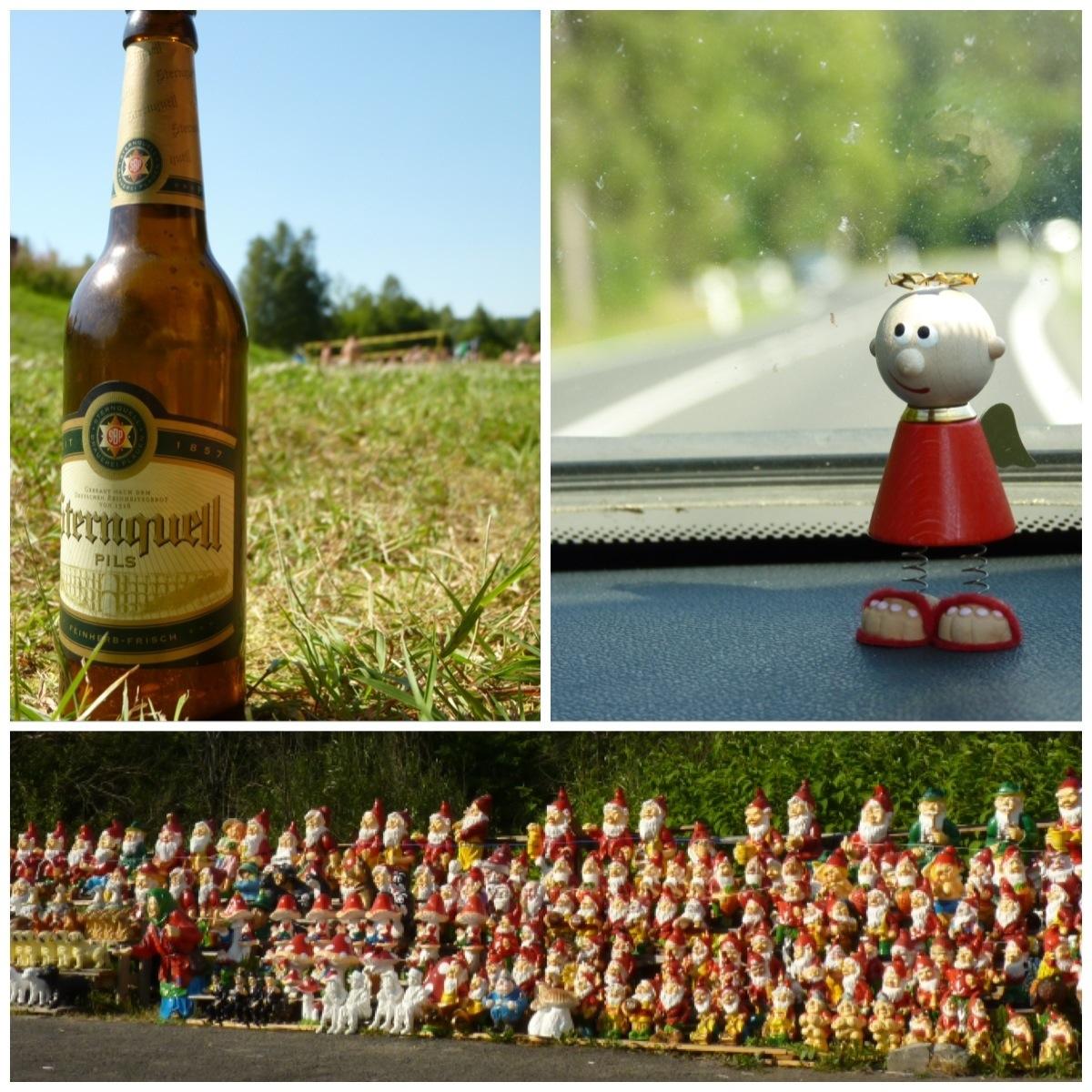 Autofahrt, Gartenzwergarmee, Bier im Gras